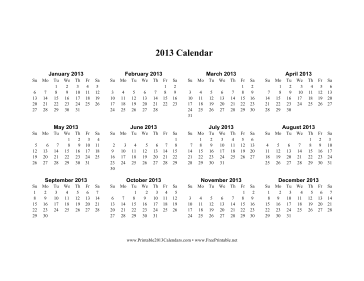 2013 Calendar on one page (horizontal) Calendar