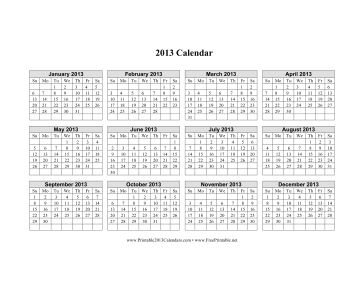 2013 Calendar on one page (horizontal grid) Calendar
