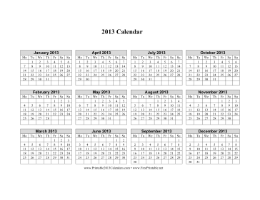 2013 Calendar on one page (horizontal, week starts on Monday) Calendar