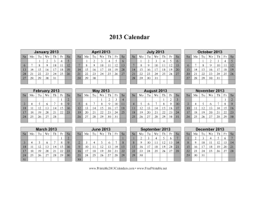 2013 Calendar on one page (horizontal, shaded weekends) Calendar