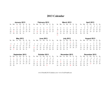 2013 Calendar on one page (horizontal, holidays in red) Calendar
