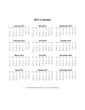 2013 Calendar (vertical, descending, holidays in red) Calendar