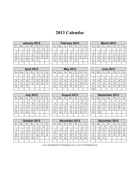 2013 Calendar on one page (vertical grid) Calendar