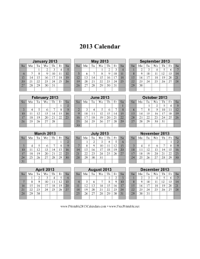2013 Calendar on one page (vertical, shaded weekends) Calendar