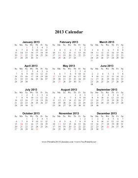 2013 Calendar on one page (vertical, holidays in red) Calendar