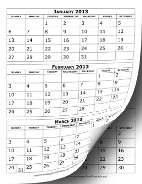 Printable 2013 Calendar Three Months per Page